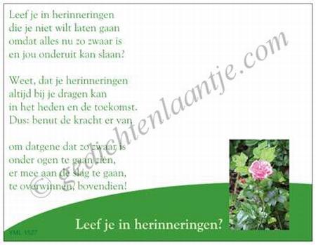 Gedichtkaart YML 1527: Leef je in herinneringen?
