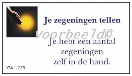 Gedachtekaartje YML 1775: Je zegeningen tellen