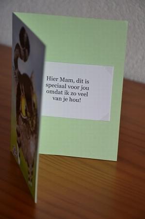 Dubbele kaart Y/D 0005: Hier Mam, dit is speciaal voor jou!
